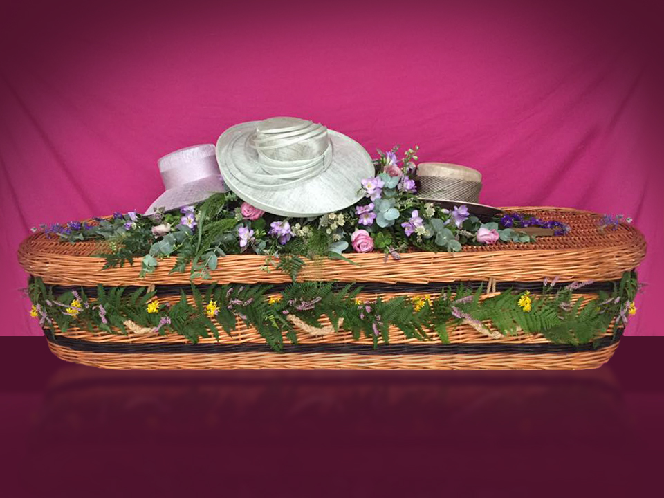 Weave Coffin – with hat arrangement